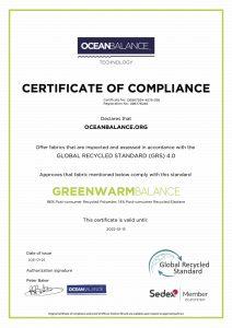 Certificate of compliance- GreenWarmBalance